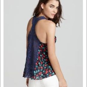 Free People Izzy Floral Crochet Back Tank Top Sm